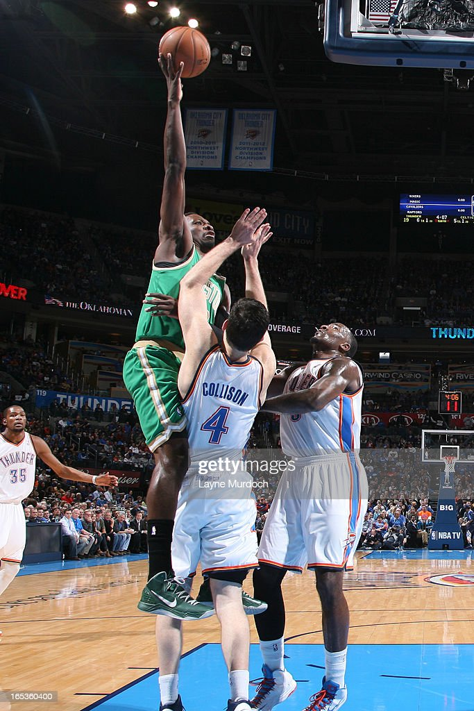 Jeff Green #8 of the Boston Celtics puts up a shot against the Oklahoma City Thunder on March 10, 2013 at the Chesapeake Energy Arena in Oklahoma City, Oklahoma.