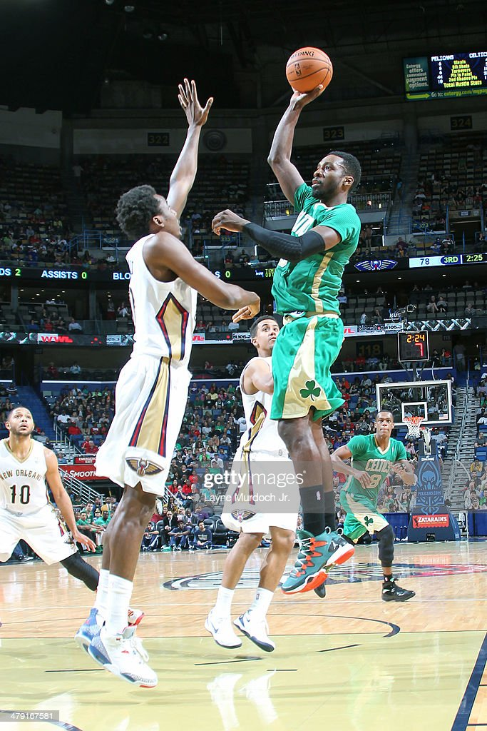 Jeff Green #8 of the Boston Celtics puts up the shot against the New Orleans Pelicans during an NBA game on March 16, 2014 at the Smoothie King Center in New Orleans, Louisiana.