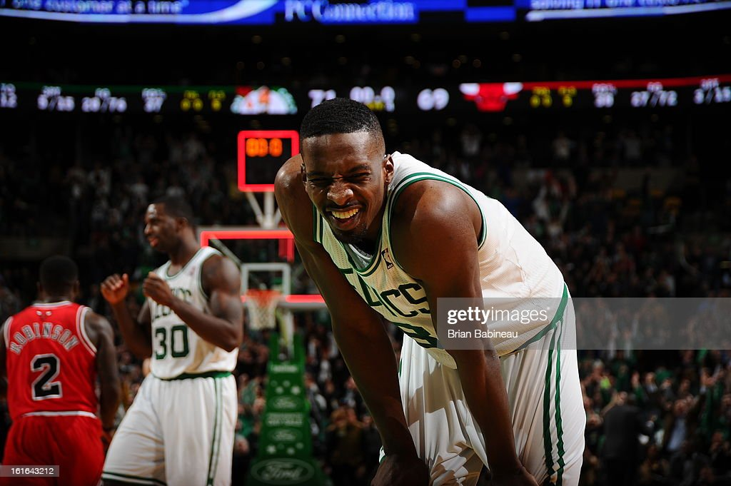 Jeff Green #8 of the Boston Celtics reacts during the game against the Chicago Bulls on February 13, 2013 at the TD Garden in Boston, Massachusetts.