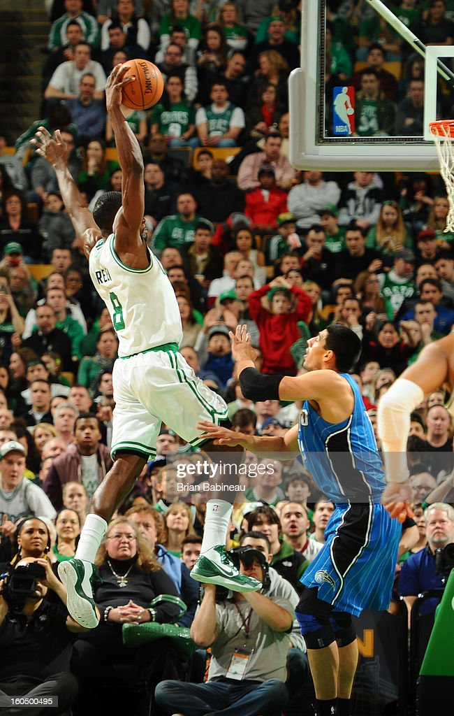 Jeff Green #8 of the Boston Celtics rises for a dunk against the Orlando Magic on February 1, 2013 at the TD Garden in Boston, Massachusetts.