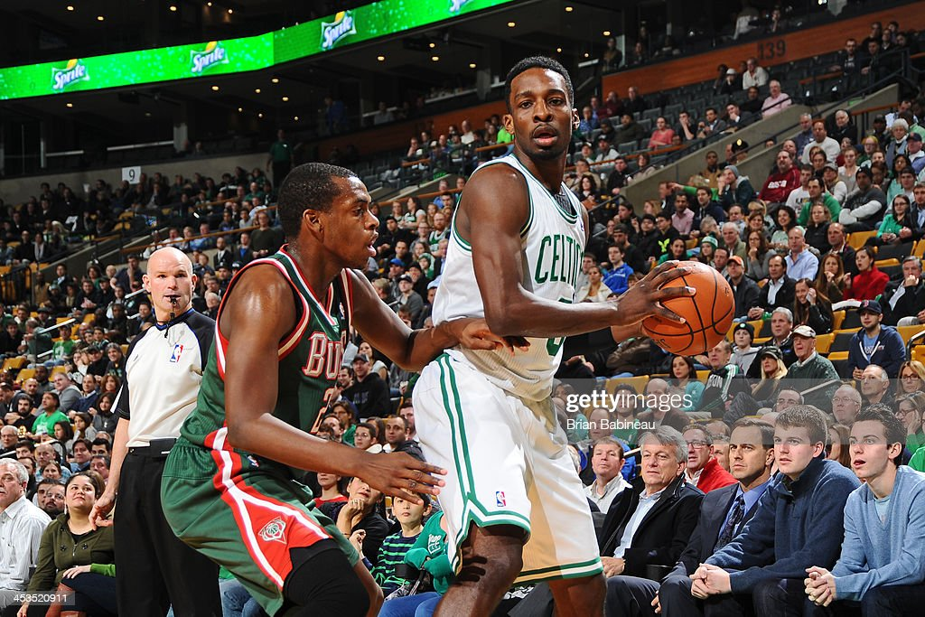 Jeff Green #8 of the Boston Celtics sets to make a move against <a gi-track='captionPersonalityLinkClicked' href=/galleries/search?phrase=Khris+Middleton&family=editorial&specificpeople=6689629 ng-click='$event.stopPropagation()'>Khris Middleton</a> #22 of the Milwaukee Bucks on December 3, 2013 at the TD Garden in Boston, Massachusetts.