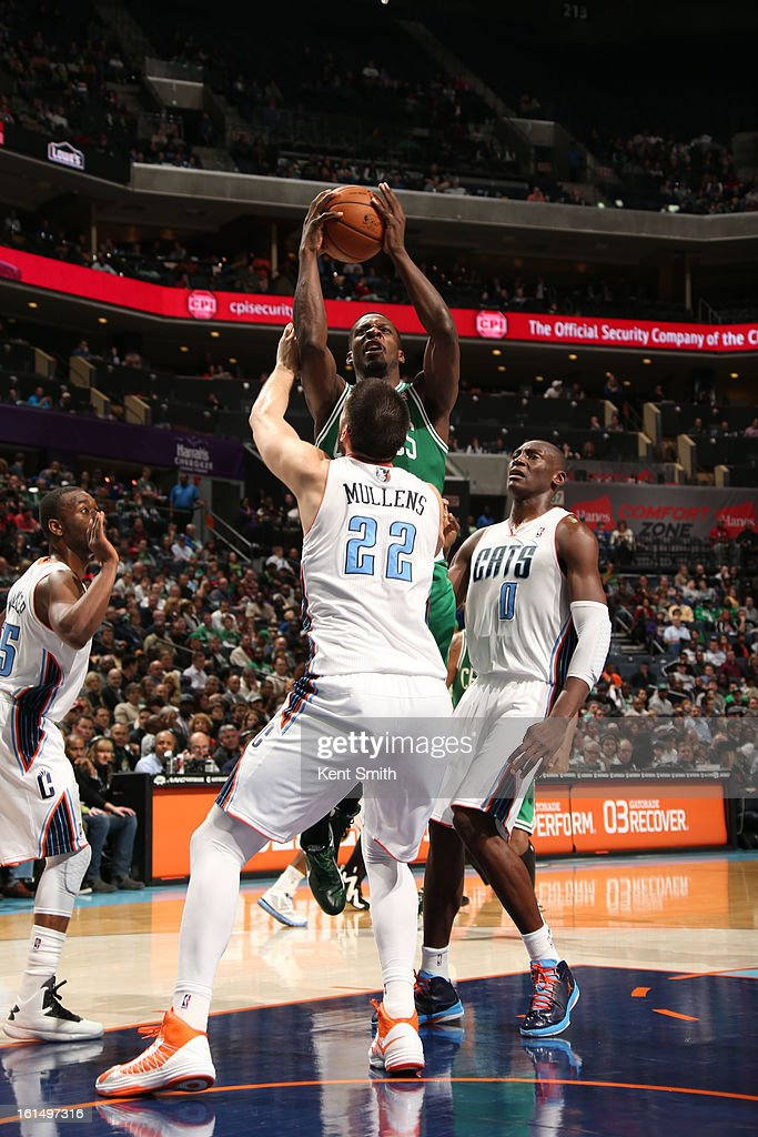 Jeff Green #8 of the Boston Celtics shoots against Byron Mullens #22 of the Charlotte Bobcats at the Time Warner Cable Arena on February 11, 2013 in Charlotte, North Carolina.