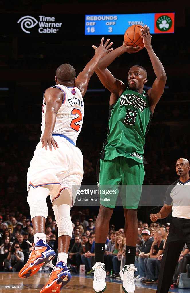 Jeff Green #8 of the Boston Celtics shoots against Raymond Felton #2 of the New York Knicks on March 31, 2013 at Madison Square Garden in New York City.