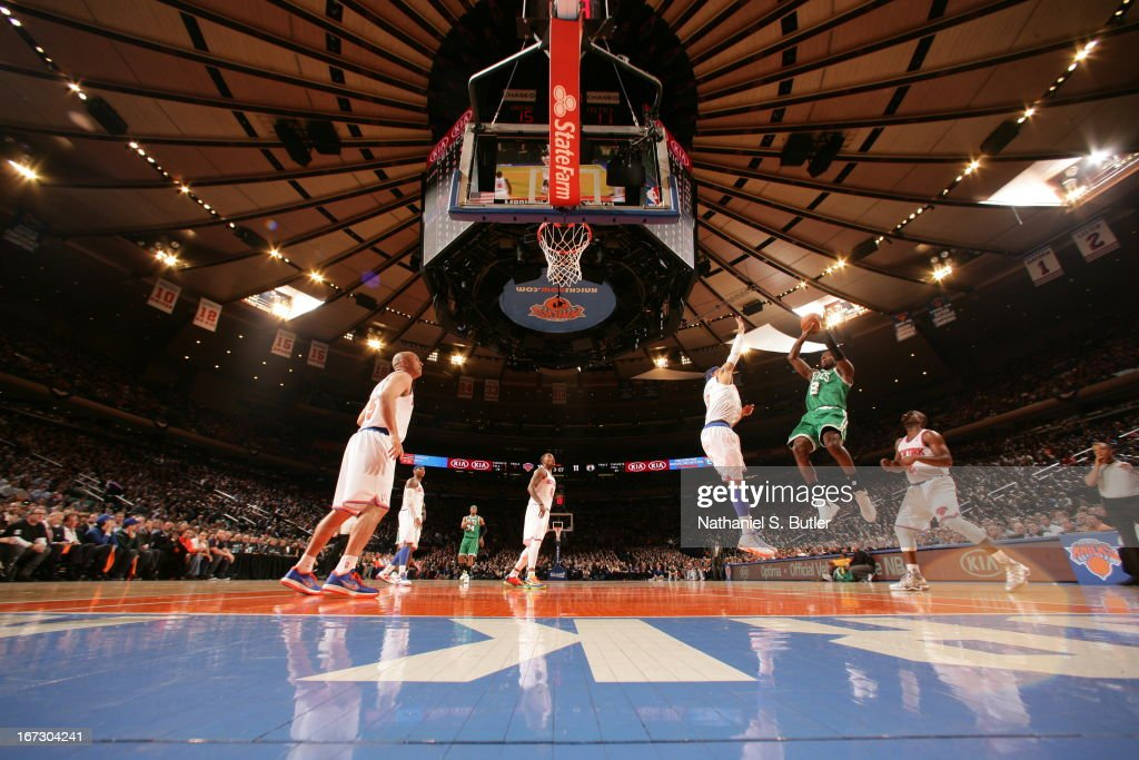 Jeff Green #8 of the Boston Celtics shoots the ball against the New York Knicks in Game Two of the Eastern Conference Quarterfinals during the 2013 NBA Playoffs on April 23, 2013 at Madison Square Garden in New York City.