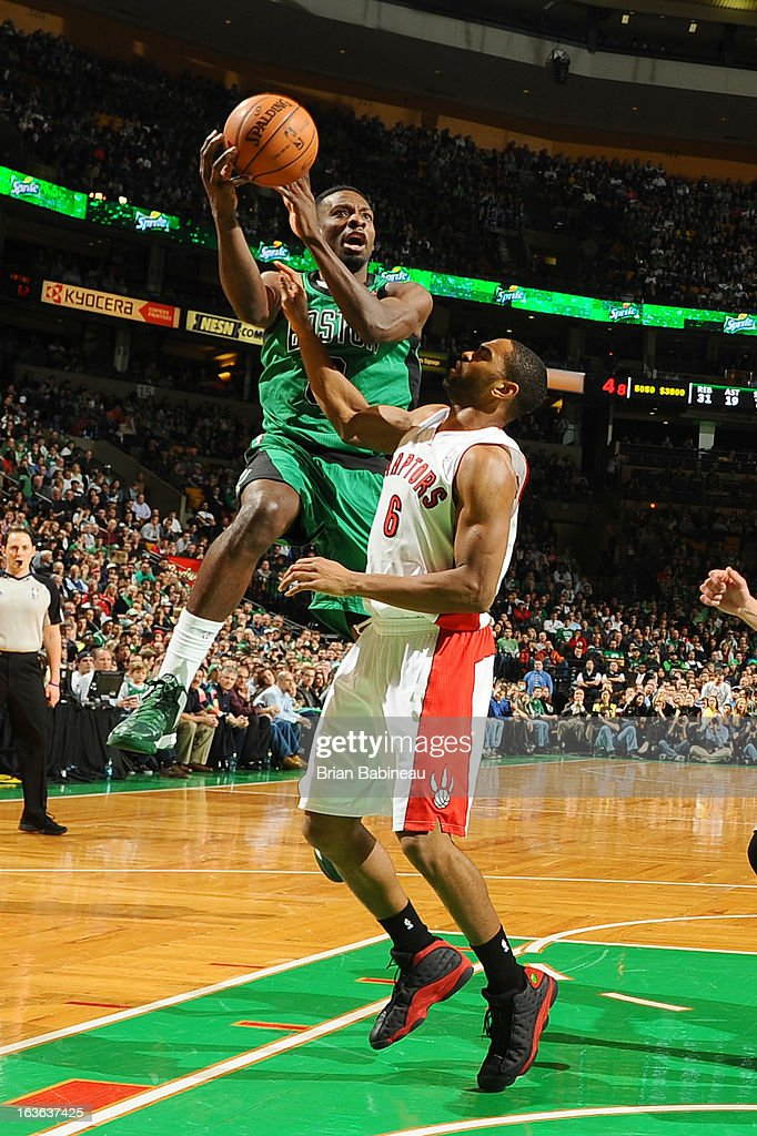 Jeff Green #8 of the Boston Celtics shoots the ball against the Toronto Raptors on March 13, 2013 at the TD Garden in Boston, Massachusetts.
