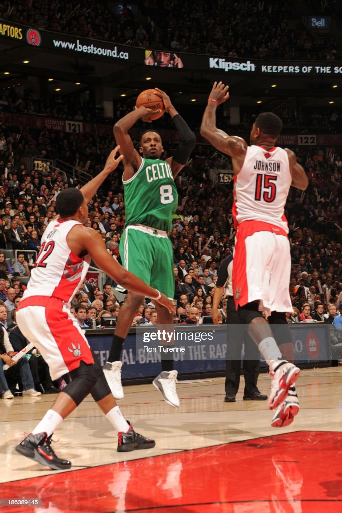 Jeff Green #8 of the Boston Celtics shoots the ball against the Toronto Raptors during the game on October 23, 2013 at the Air Canada Centre in Toronto, Ontario, Canada.