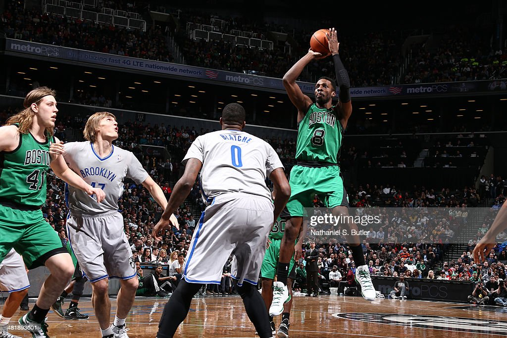 Jeff Green #8 of the Boston Celtics takes a shot against the Brooklyn Nets at the Barclays Center on March 21, 2014 in the Brooklyn borough of New York City.