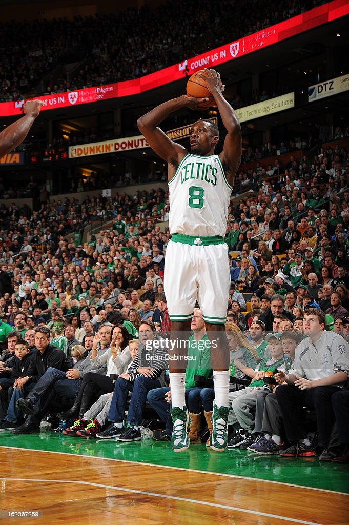 Jeff Green #8 of the Boston Celtics takes a shot against the Miami Heat on January 27, 2013 at the TD Garden in Boston, Massachusetts.