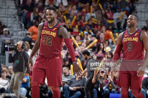 Jeff Green of the Cleveland Cavaliers and Dwyane Wade of the Cleveland Cavaliers react during the game against the Atlanta Hawks on November 5 2017...