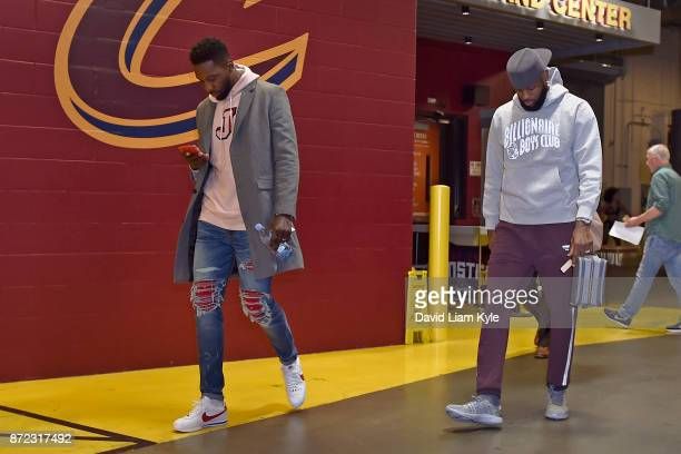 Jeff Green of the Cleveland Cavaliers and LeBron James of the Cleveland Cavaliers arrive before the game against the Atlanta Hawks on November 5 2017...