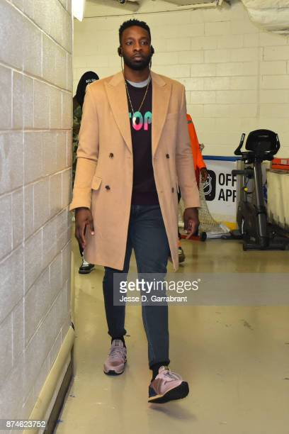 Jeff Green of the Cleveland Cavaliers arrives at Madison Square Garden before the game against the New York Knicks on November 13 2017 in New YorkNew...