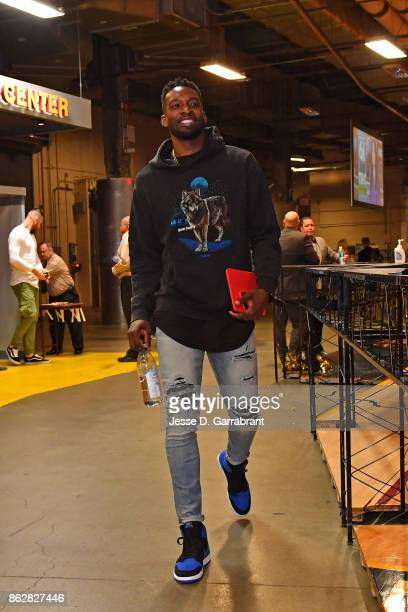 Jeff Green of the Cleveland Cavaliers arrives at the arena before the game against the Boston Celtics on October 17 2017 at Quicken Loans Arena in...