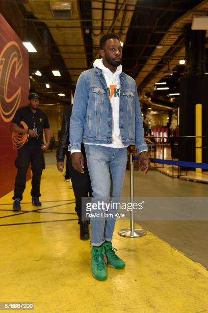 Jeff Green of the Cleveland Cavaliers arrives at the stadium before the game against the Charlotte Hornets on November 24 2017 at Quicken Loans Arena...
