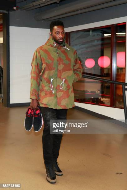 Jeff Green of the Cleveland Cavaliers arrives before the game against the Chicago Bulls on December 4 2017 at the United Center in Chicago Illinois...