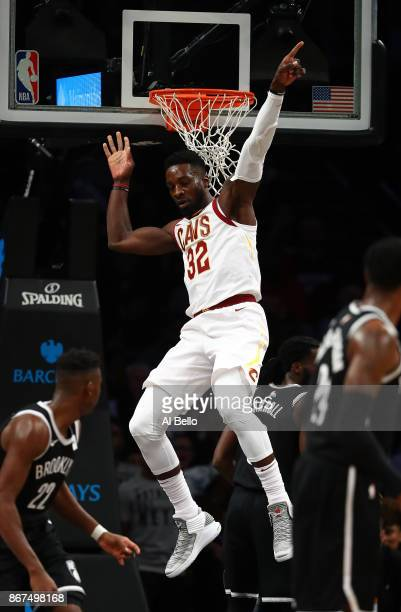 Jeff Green of the Cleveland Cavaliers celebrates after a dunk against tthe Brooklyn Nets during their game at Barclays Center on October 25 2017 in...