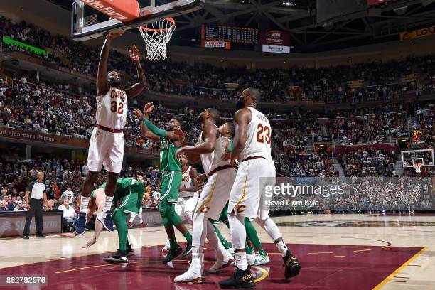 Jeff Green of the Cleveland Cavaliers drives to the basket against the Boston Celtics on October 17 2017 at Quicken Loans Arena in Cleveland Ohio...