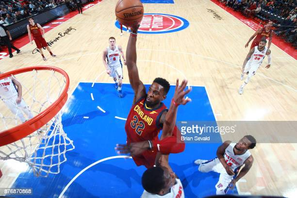 Jeff Green of the Cleveland Cavaliers dunks against the Detroit Pistons on November 20 2017 at Little Caesars Arena in Detroit Michigan NOTE TO USER...