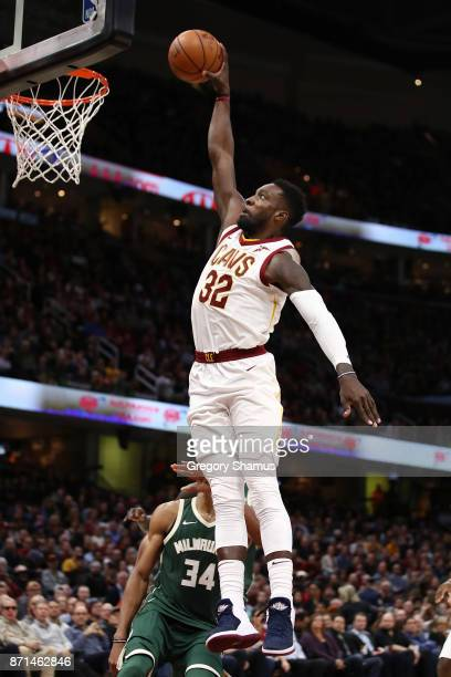 Jeff Green of the Cleveland Cavaliers dunks against the Milwaukee Bucks during the second half at Quicken Loans Arena on November 7 2017 in Cleveland...