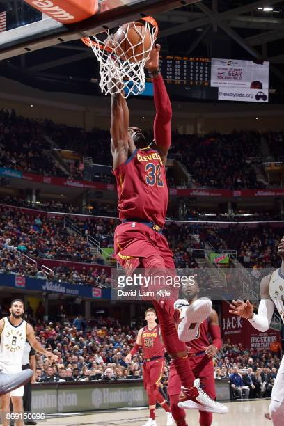 Jeff Green of the Cleveland Cavaliers dunks the ball against the Indiana Pacers on November 1 2017 at Quicken Loans Arena in Cleveland Ohio NOTE TO...