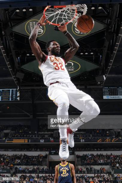 Jeff Green of the Cleveland Cavaliers dunks the ball against the Indiana Pacers on December 8 2017 at Bankers Life Fieldhouse in Indianapolis Indiana...
