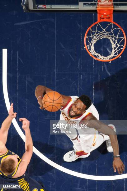 Jeff Green of the Cleveland Cavaliers goes for the ball against the Indiana Pacers on December 8 2017 at Bankers Life Fieldhouse in Indianapolis...