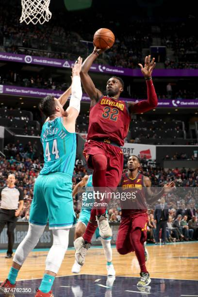 Jeff Green of the Cleveland Cavaliers goes to the basket against the Charlotte Hornets on November 15 2017 at Spectrum Center in Charlotte North...