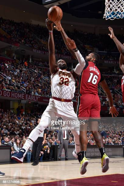 Jeff Green of the Cleveland Cavaliers goes to the basket against the Miami Heat on November 28 2017 at Quicken Loans Arena in Cleveland Ohio NOTE TO...