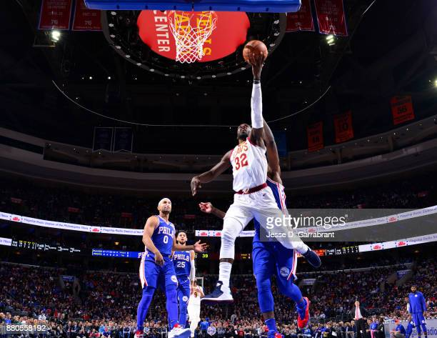 Jeff Green of the Cleveland Cavaliers goes up for the layup against the Philadelphia 76ers at Wells Fargo Center on November 27 2017 in Philadelphia...