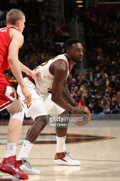 Jeff Green of the Cleveland Cavaliers handles the ball against the Chicago Bulls during a preseason game on October 10 2017 at Quicken Loans Arena in...