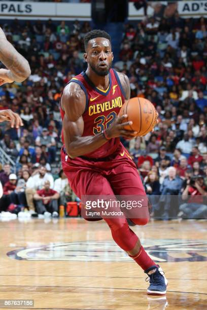 Jeff Green of the Cleveland Cavaliers handles the ball against the New Orleans Pelicans on October 28 2017 at the Smoothie King Center in New Orleans...
