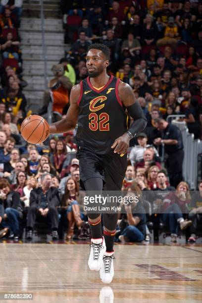 Jeff Green of the Cleveland Cavaliers handles the ball against the Charlotte Hornets on Novmber 24 2017 at Quicken Loans Arena in Cleveland Ohio NOTE...