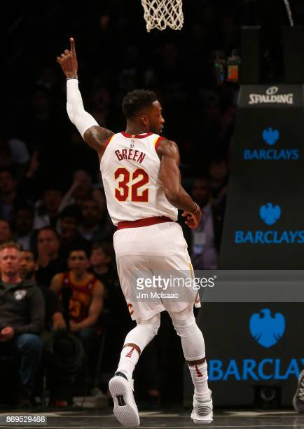 Jeff Green of the Cleveland Cavaliers in action against the Brooklyn Nets at Barclays Center on October 25 2017 in the Brooklyn borough of New York...