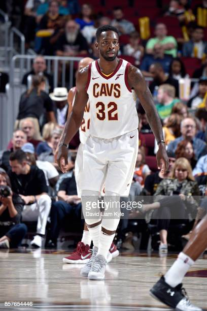 Jeff Green of the Cleveland Cavaliers looks on during the preseason game against the Atlanta Hawks on October 4 2017 at Quicken Loans Arena in...