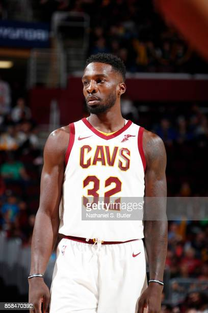 Jeff Green of the Cleveland Cavaliers looks on during the preseason game against the Indiana Pacers on October 6 2017 at Quicken Loans Arena in...