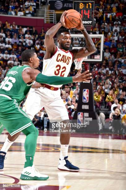 Jeff Green of the Cleveland Cavaliers makes a pass against the Boston Celtics on October 17 2017 at Quicken Loans Arena in Cleveland Ohio NOTE TO...