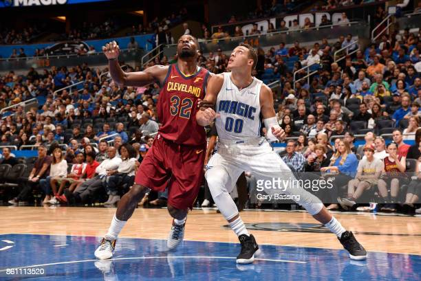 Jeff Green of the Cleveland Cavaliers plays defense against Aaron Gordon of the Orlando Magic during the preseason game on October 13 2017 at Amway...