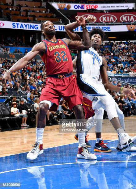 Jeff Green of the Cleveland Cavaliers plays defense against Jonathan Isaac of the Orlando Magic during the preseason game on October 13 2017 at Amway...