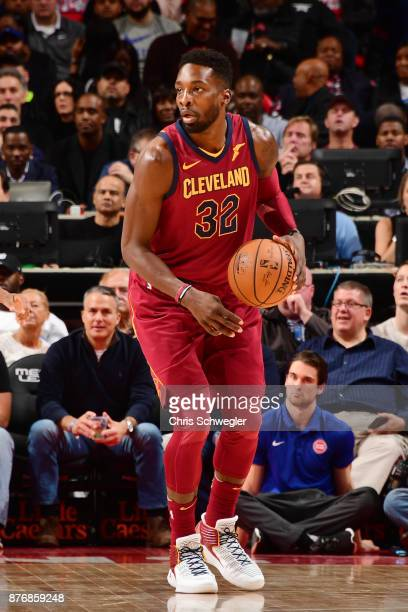 Jeff Green of the Cleveland Cavaliers posts up against the Detroit Pistons on November 20 2017 at Little Caesars Arena in Detroit Michigan NOTE TO...