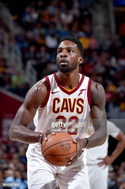 Jeff Green of the Cleveland Cavaliers shoots a free throw against the Memphis Grizzlies on December 2 2017 at Quicken Loans Arena in Cleveland Ohio...