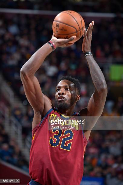 Jeff Green of the Cleveland Cavaliers shoots a free throw against the Philadelphia 76ers on December 9 2017 at Quicken Loans Arena in Cleveland Ohio...