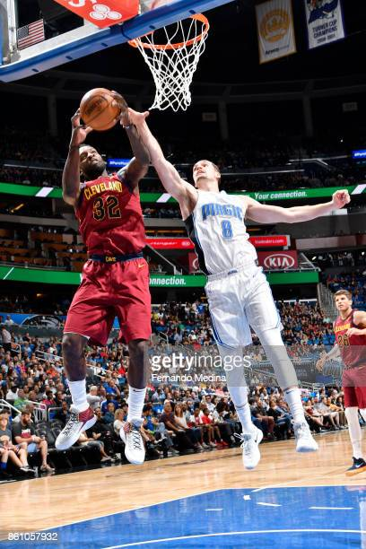 Jeff Green of the Cleveland Cavaliers shoots the ball against Mario Hezonja of the Orlando Magic during the preseason game on October 13 2017 at...