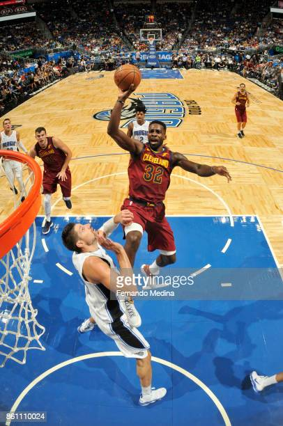 Jeff Green of the Cleveland Cavaliers shoots the ball against the Orlando Magic during the preseason game on October 13 2017 at Amway Center in...