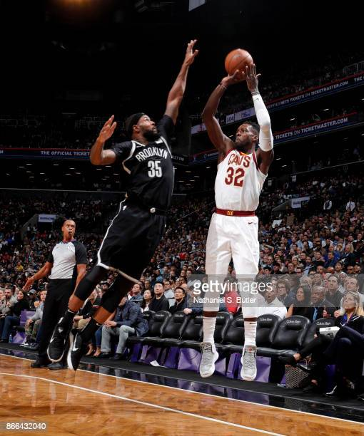 Jeff Green of the Cleveland Cavaliers shoots the ball against the Brooklyn Nets on October 25 2017 at Barclays Center in Brooklyn New York NOTE TO...