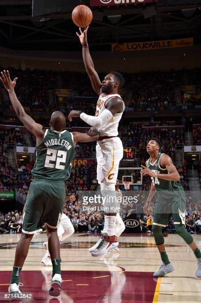 Jeff Green of the Cleveland Cavaliers shoots the ball against the Milwaukee Bucks on Novmber 7 2017 at Quicken Loans Arena in Cleveland Ohio NOTE TO...