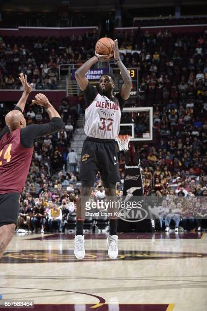 Jeff Green of the Cleveland Cavaliers shoots the ball during the open practice on October 2 2017 at Quicken Loans Arena in Cleveland Ohio NOTE TO...