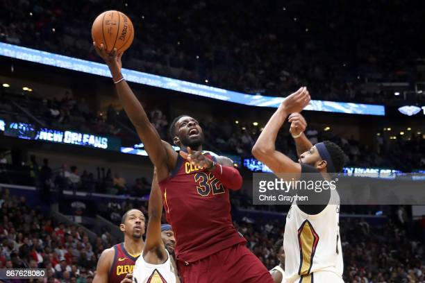 Jeff Green of the Cleveland Cavaliers shoots the ball over Anthony Davis of the New Orleans Pelicans at the Smoothie King Center on October 28 2017...