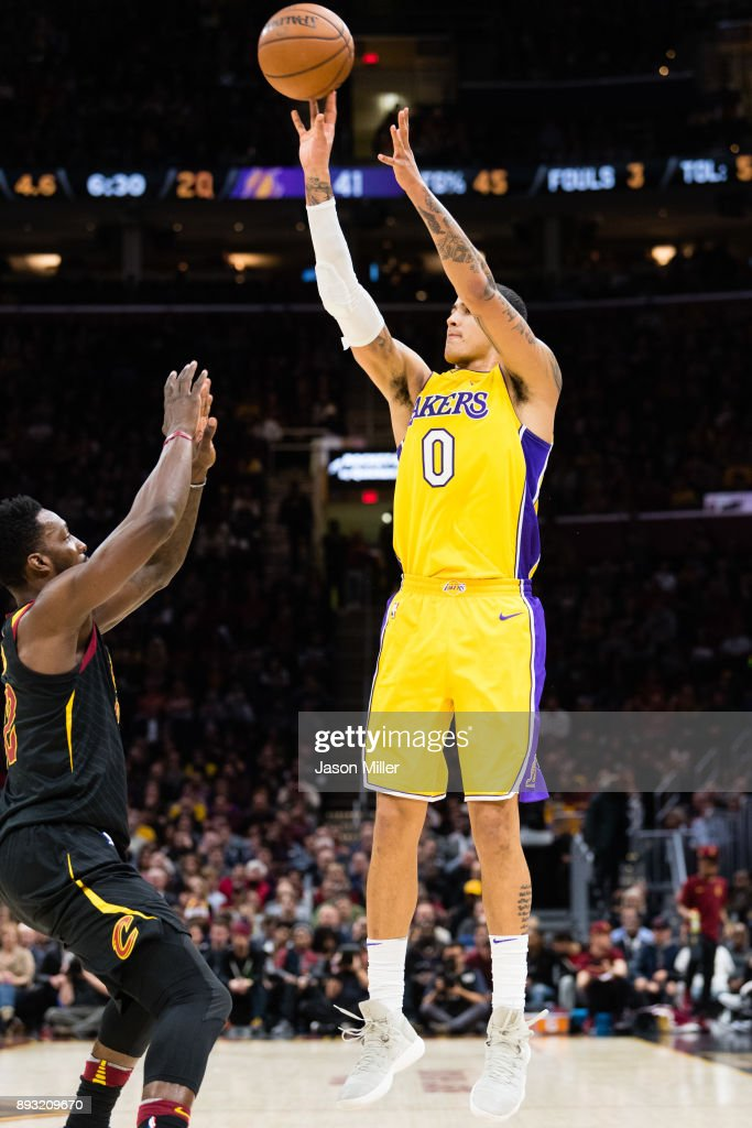 Jeff Green #32 of the Cleveland Cavaliers tries to stop Kyle Kuzma #0 of the Los Angeles Lakers during the first half at Quicken Loans Arena on December 14, 2017 in Cleveland, Ohio.