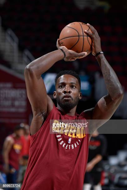 Jeff Green of the Cleveland Cavaliers warms up before the game against the Chicago Bulls on October 10 2017 at Quicken Loans Arena in Cleveland Ohio...