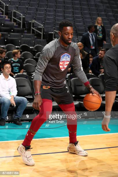 Jeff Green of the Cleveland Cavaliers warms up before the game against the Charlotte Hornets on November 15 2017 at Spectrum Center in Charlotte...