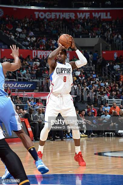 Jeff Green of the Los Angeles Clippers defends the ball against the Denver Nuggets during the game on February 24 2016 at STAPLES Center in Los...